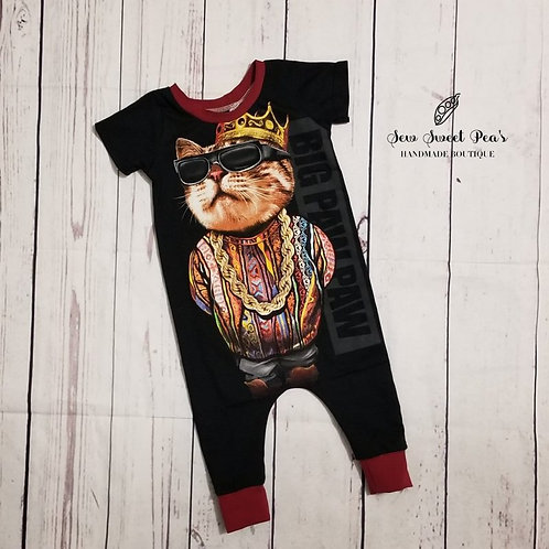 Big Paw Paw coverall harem romper size 9-12 months, onsie, one piece, cool cats,