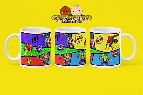 Comic strip 11oz coffee mug, superheros, gift by Sew Sweet Pea's
