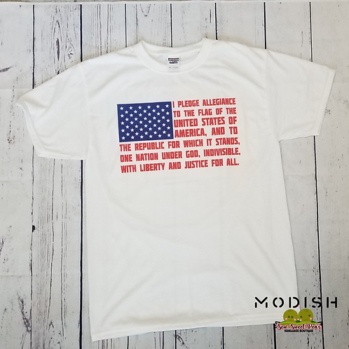 Pledge of Allegiance white tee, Short sleeved shirt
