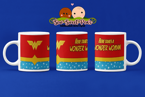 Here takes a wonder woman 11oz mug, superhero, mother's day, gift by SSP's