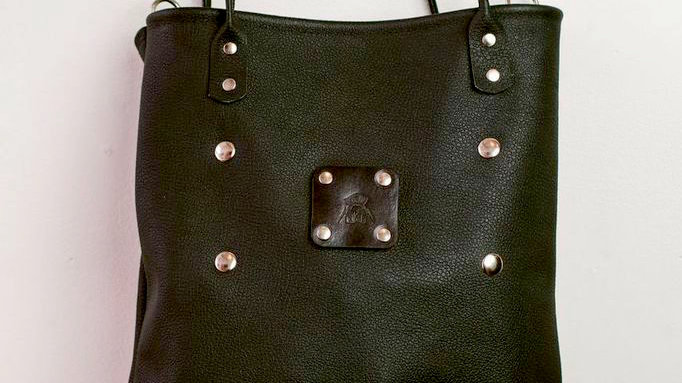 'Banff'- Black leather tote