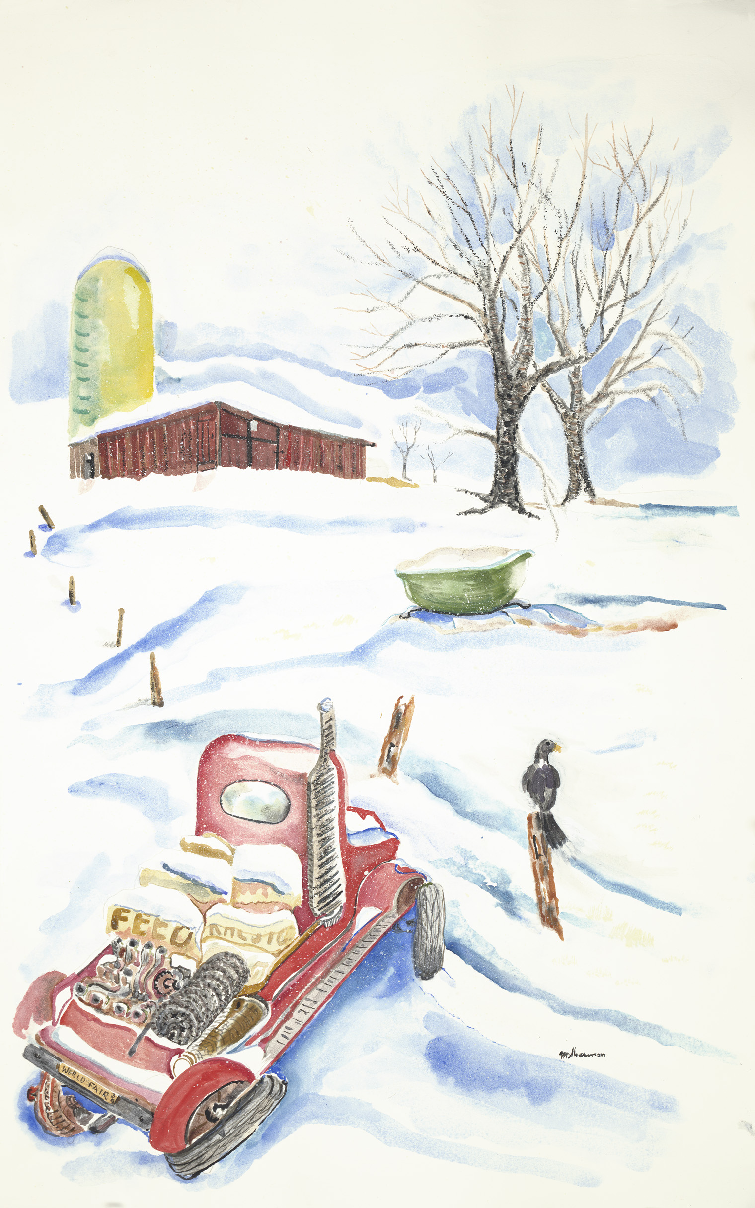 sherman 12 winter farm with truck 20x32A1