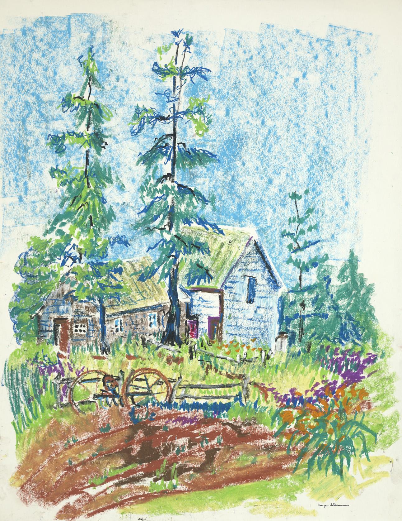 sherman 43 oil crayon farm scene 17x22A2