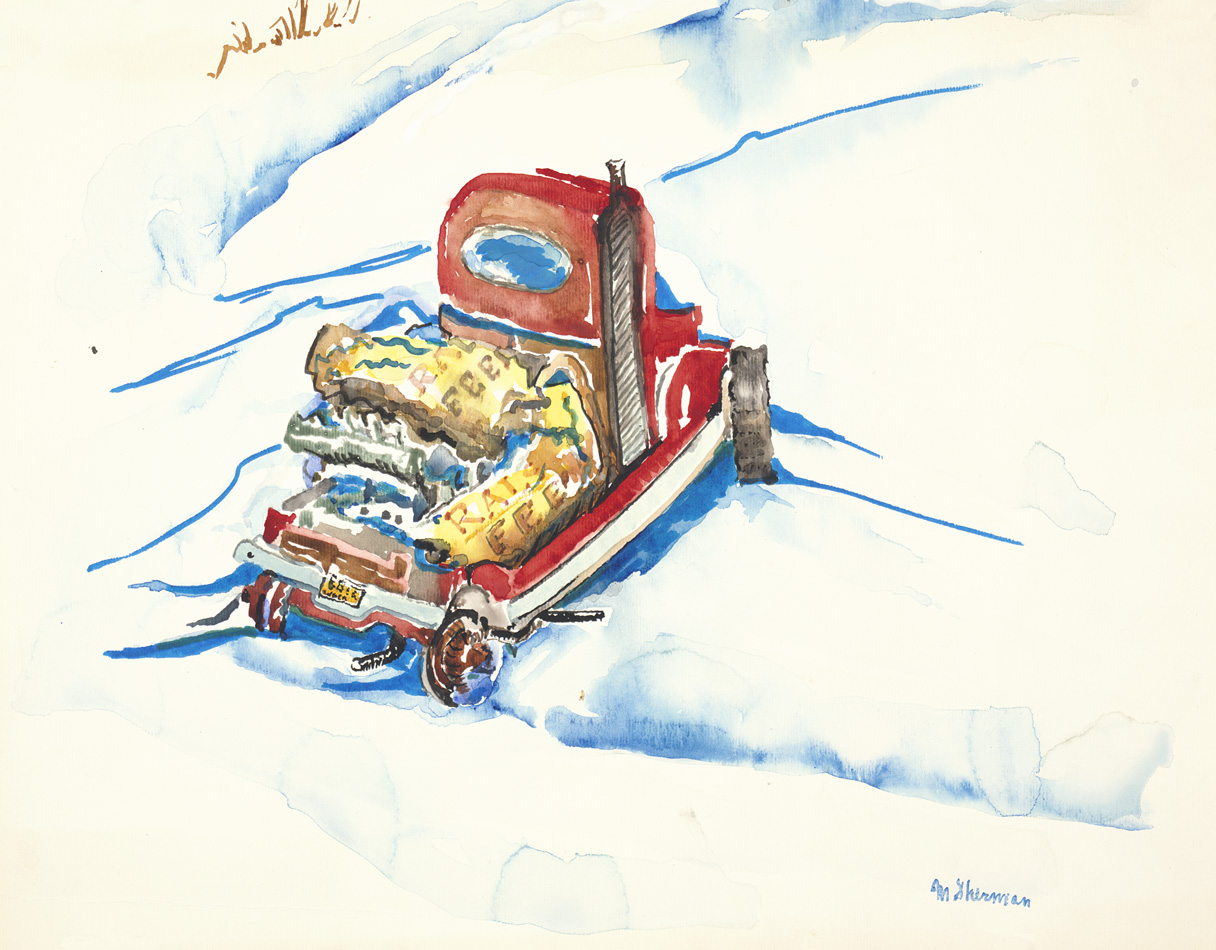 sherman 42 winter scene with truck 12.5x16A3
