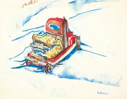 sherman 42 winter scene with truck 12.5x16A3