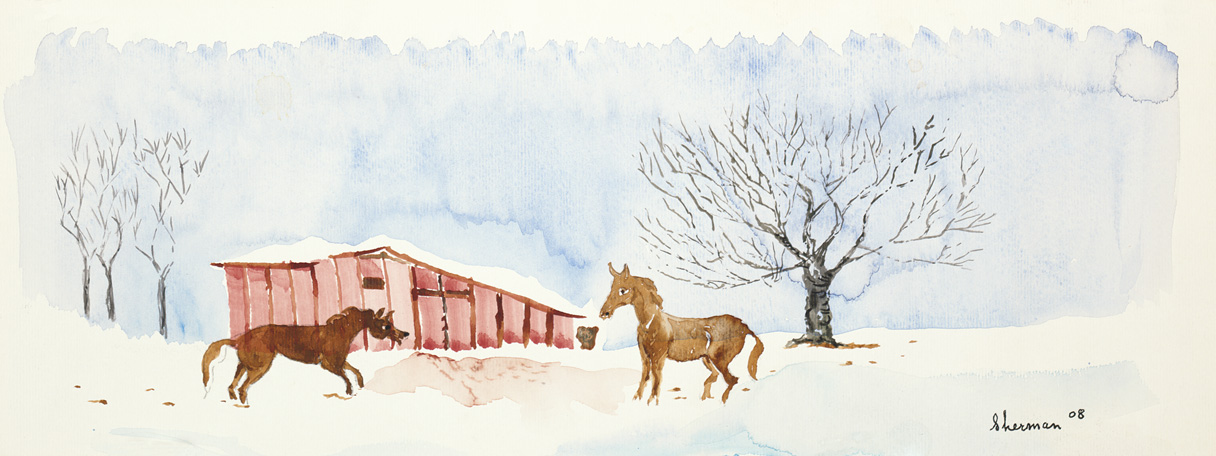 sherman 41 winter scene with horses 6.5x16A3