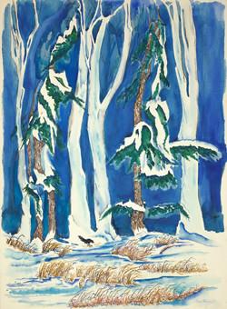 sherman 11 snowy scene with crow 22x30A1