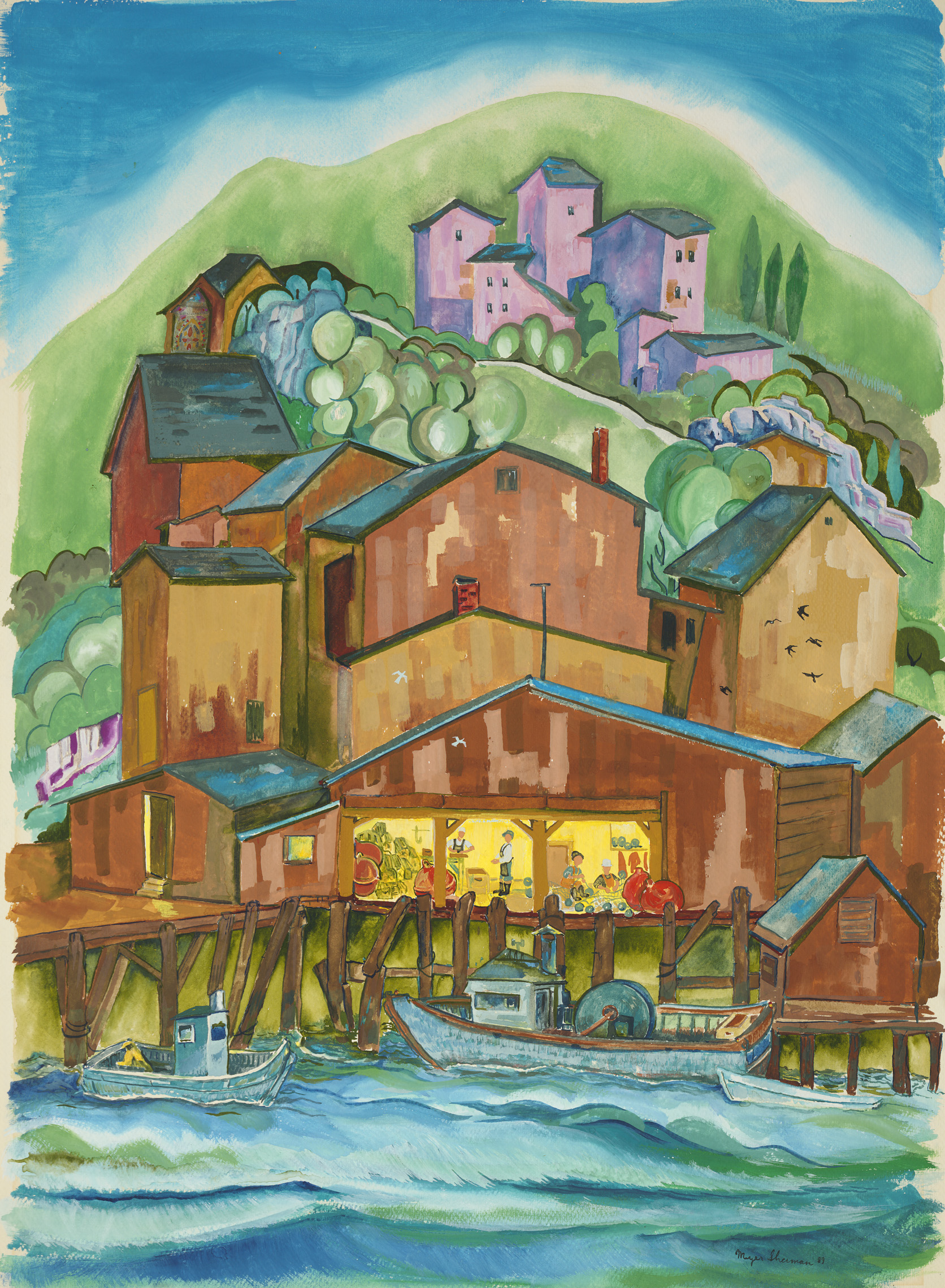 sherman 2 fishing village 22x30A2