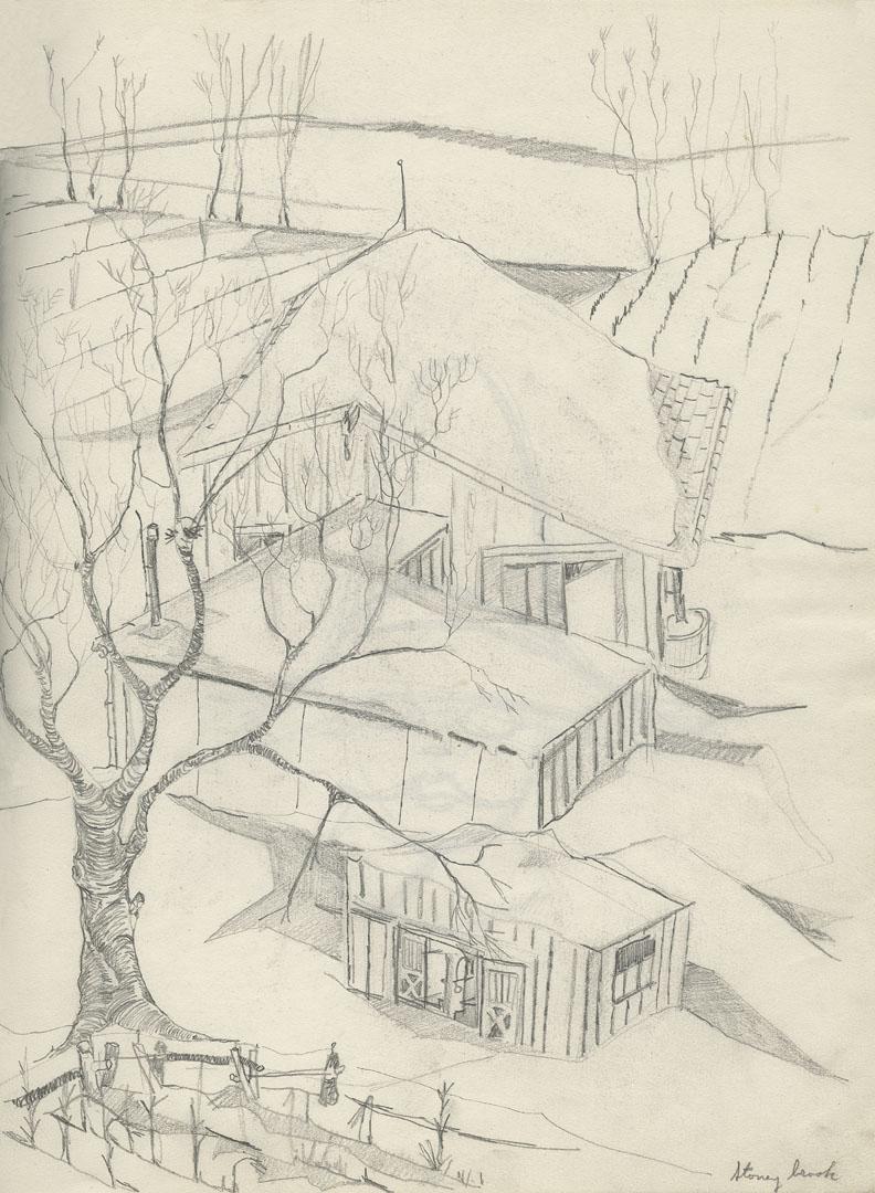 14 winter barn sketch 11x14 web