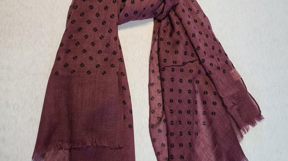 Burgundy with black split circles luxury wool scarf
