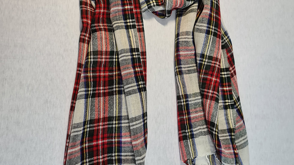 Red/Black check luxury wool scarf