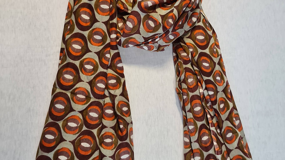 Abstract print brown/white scarf