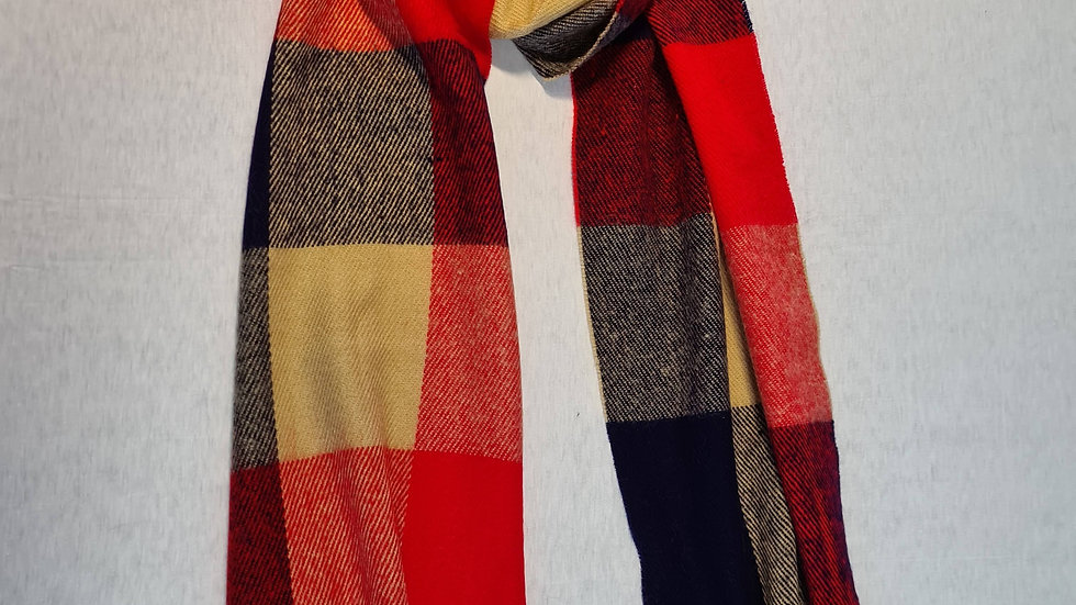 Red check Wool acrylic Scarf