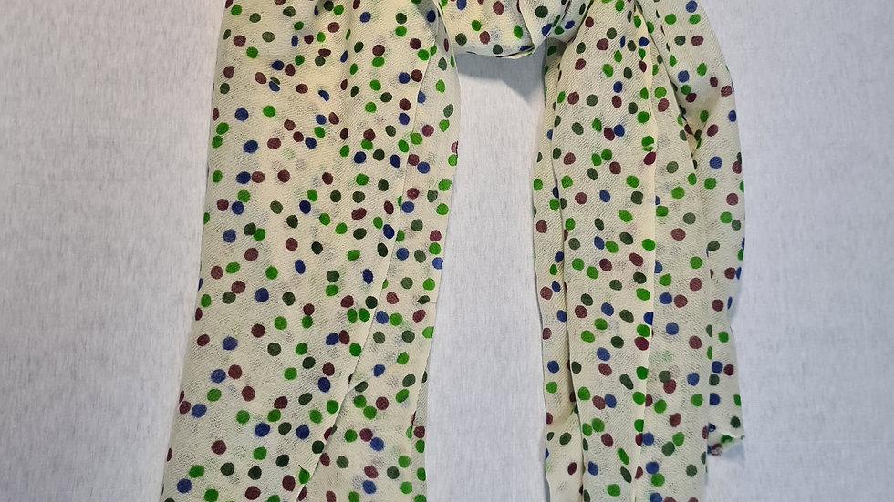 White with multicoloured dots print luxury wool scarf