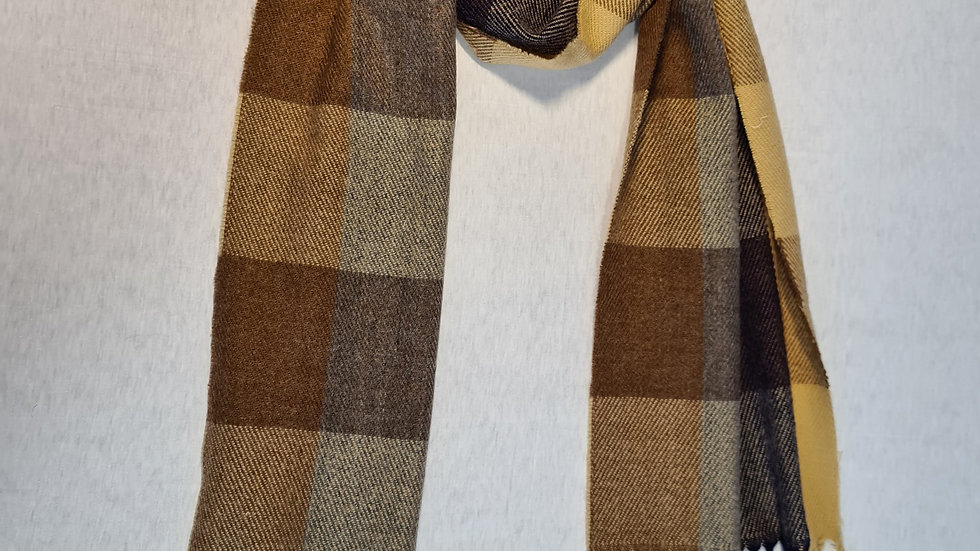 Brown check Wool acrylic Scarf