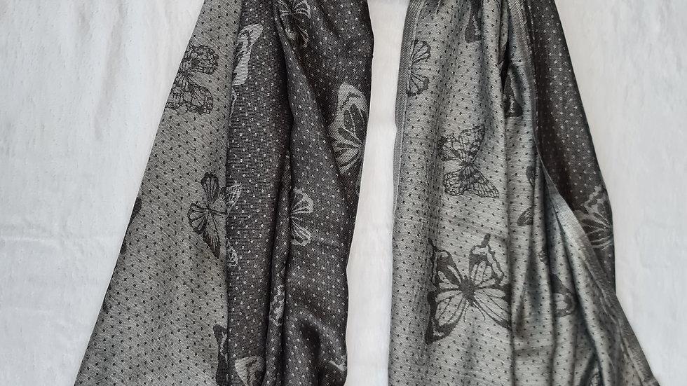 Black & Silver Butterfly print luxury Scarf
