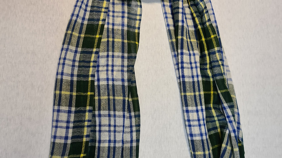 Blue/Green check luxury wool scarf