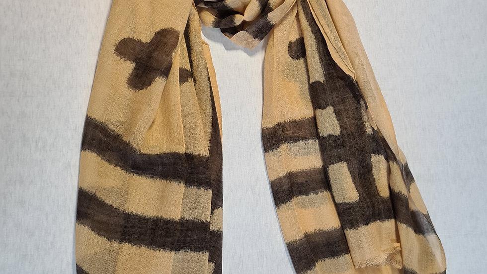 Cream & black print luxury wool scarf