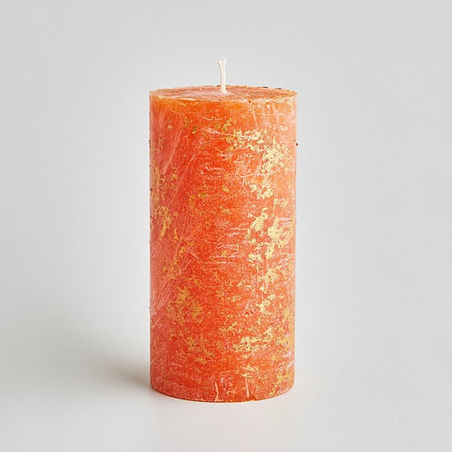 St Eval Candle Company Orange & Cinnamon Scented Gold Marbled Pillar Candle