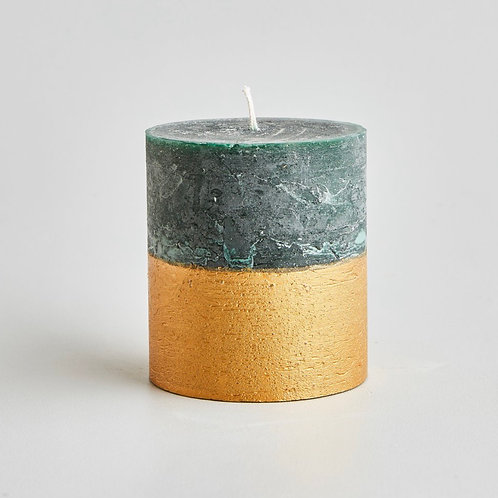 St Eval Candle Company Winter Thyme Gold Half Dipped Pillar Candle
