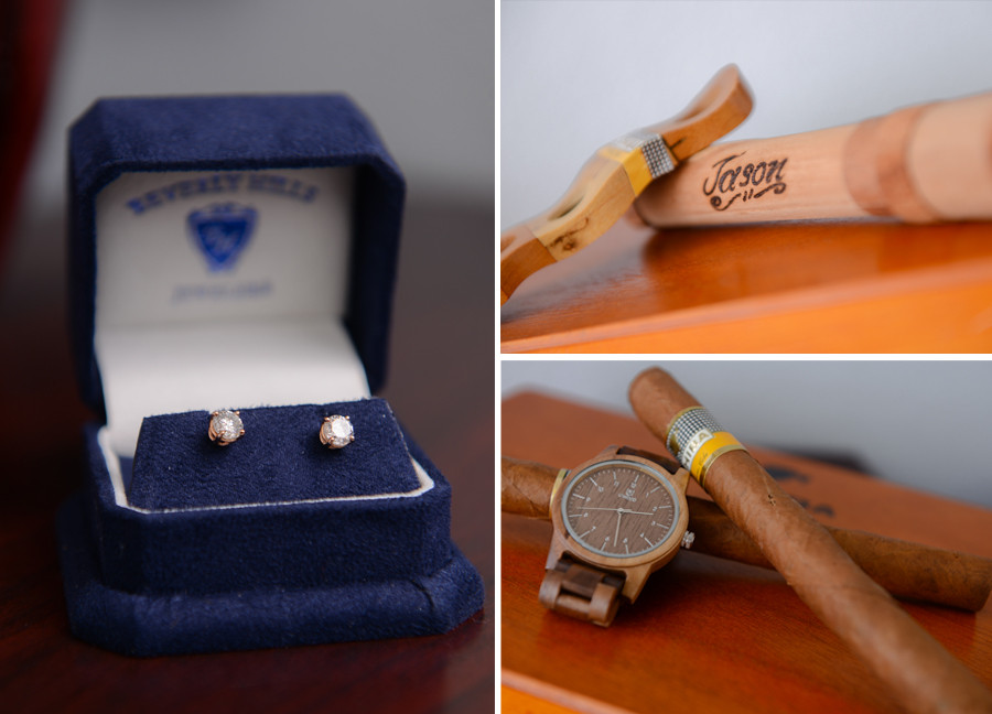 Beverly Hills jewelers rose gold diamond earrings and hand rolled cuban cigars with wooden watch