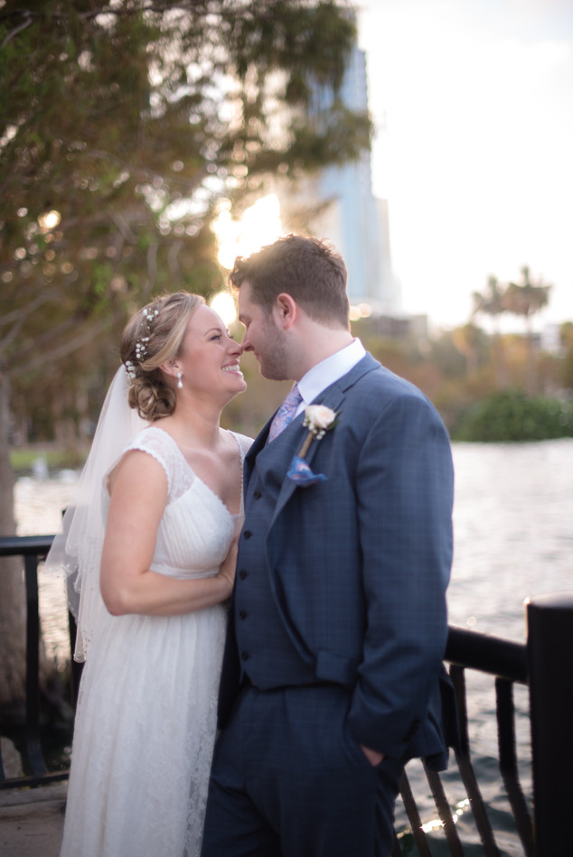 Lake eola wedding photo