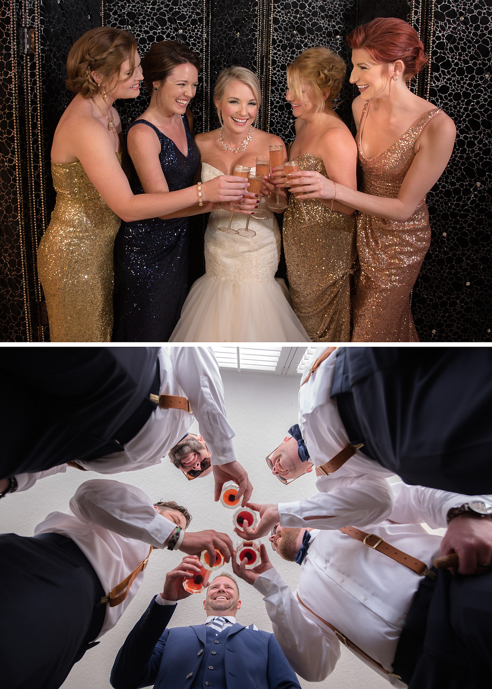champagne toast with bridesmaids and groomsmen toast with old fashioned