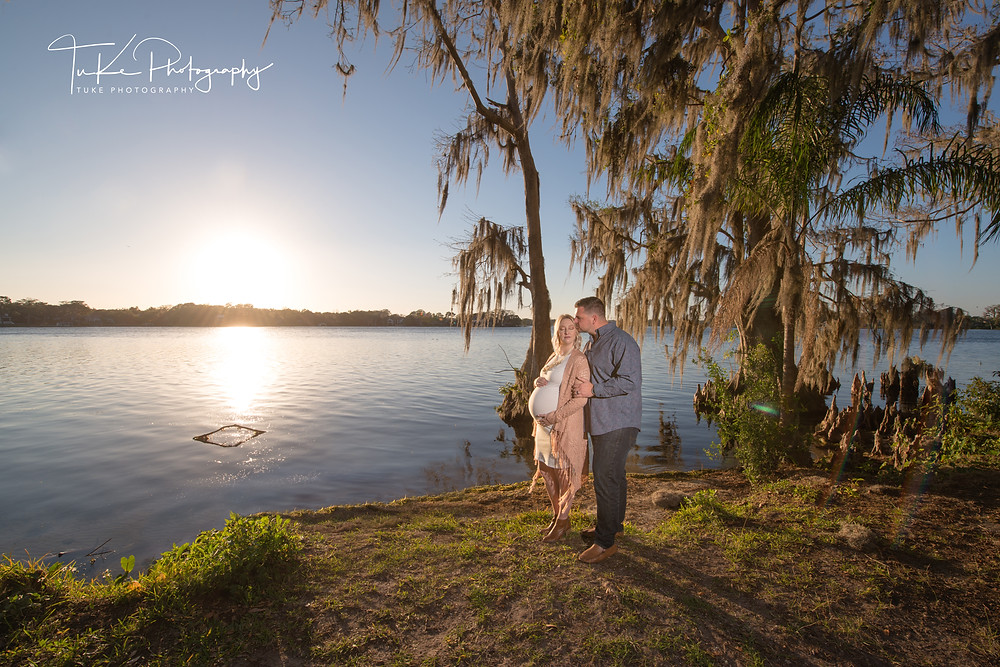 sunset maternity session at Kraft Azalea park in Winter Park - pregnant with twin girls