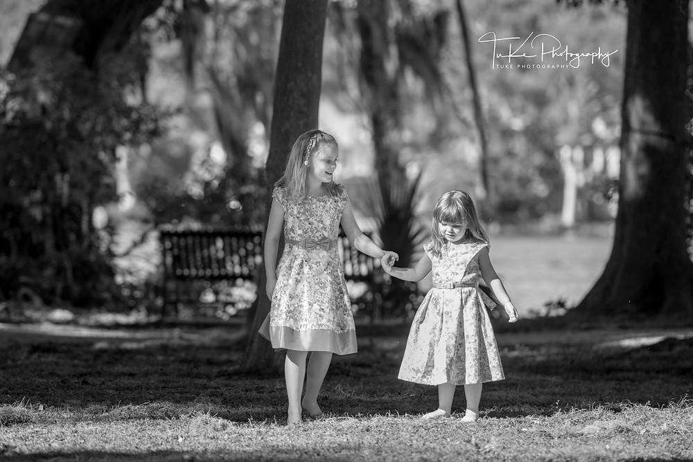 sisters - family portrait session at Kraft Azalea Park in Winter Park