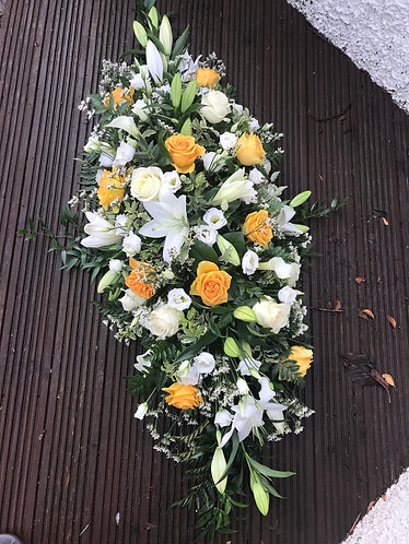 4ft yellow and whites coffin spray