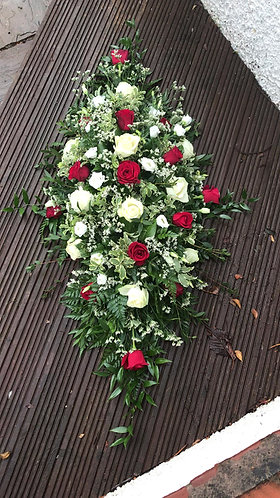 4ft red & white coffin spray