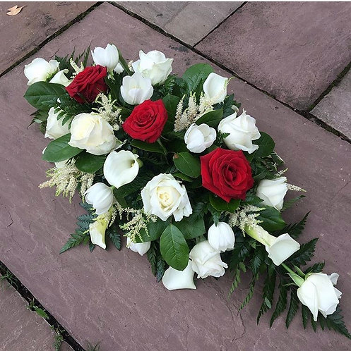 3ft red & ivory roses coffin spray