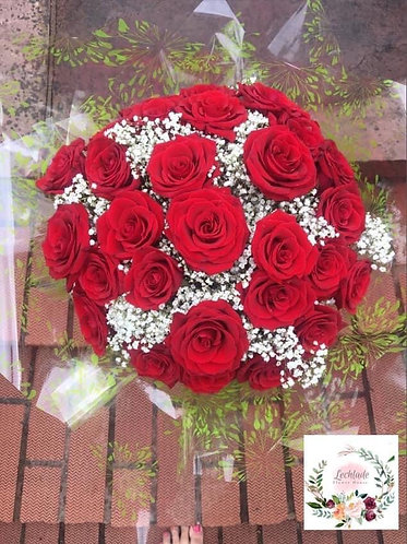 30 red roses & Gypsophila  bouquet