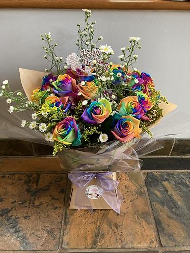 20 rainbow roses bouquet