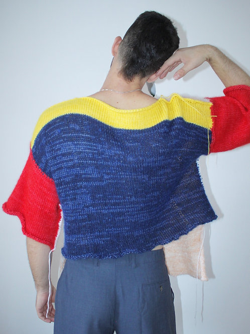 Color block mohair sweater