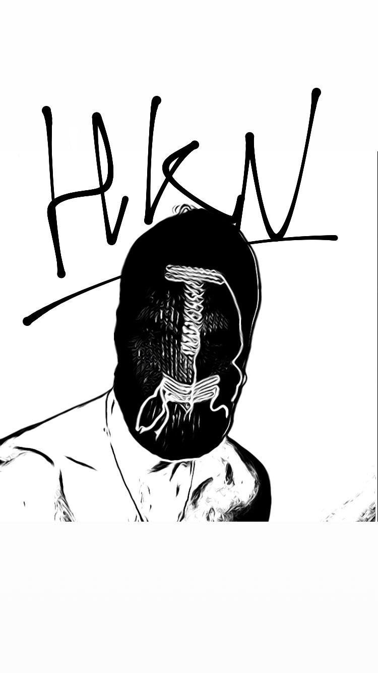 sketch of the knitted mask by HKN