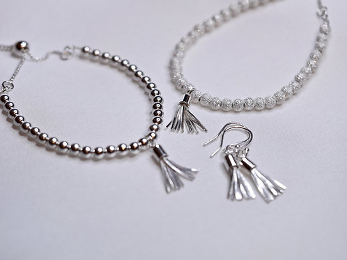 Sterling Silver Bracelet with Slider Clasp and optional Tassel