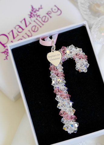 Crystal Pink Candy Cane Christmas Decoration Baby's 1st Christmas
