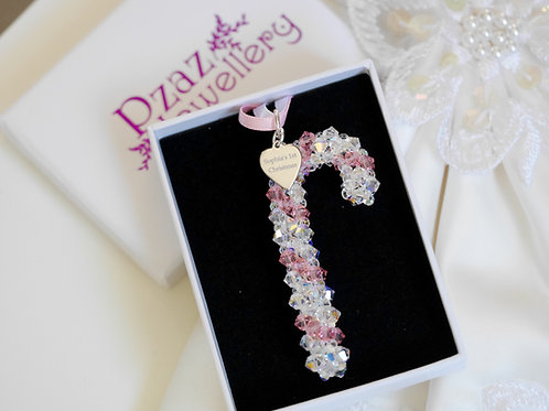 Swarovski Pink Candy Cane Christmas Decoration Baby's 1st Christmas