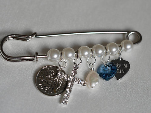 Pearl Keepsake Pin with CROSS & Personalised heart charm