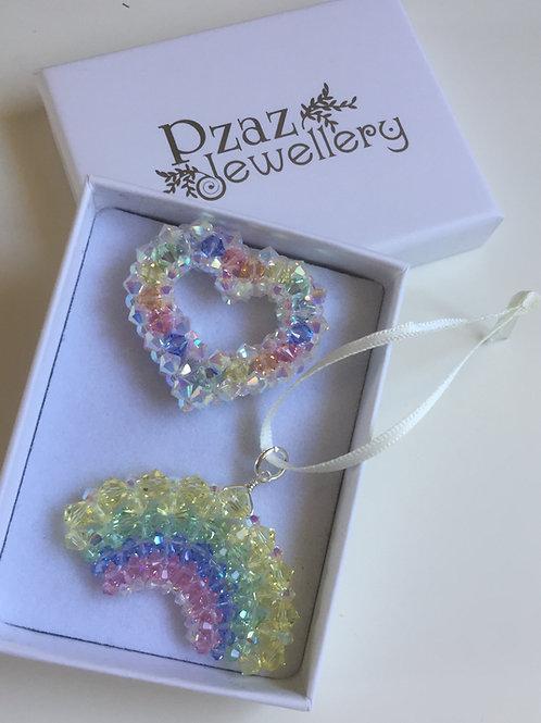 Rainbow Selection of Crystal Beaded Ornaments, Heart, Rainbow or Star