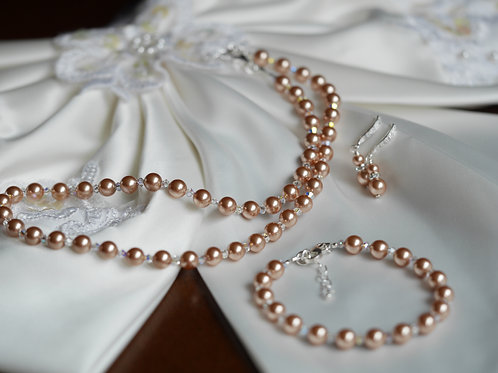 Swarovski Pearls & Crystals - Earrings, Bracelet, Necklace Set