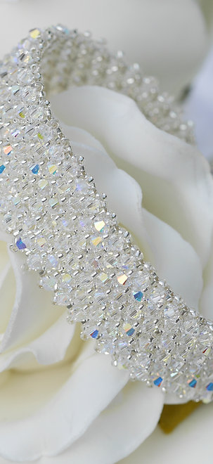 Crystal bracelet, Pave Effect, Encrusted with Crystals, Hand made Cuff