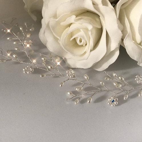 Wide Daisy Swarovski Crystal/Pearl Hair Vine