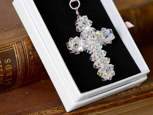 Swarovski Crystal Cross Charm -Optional engraving