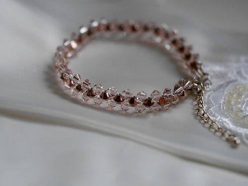 Crystal Rose Gold/Silk Bracelet