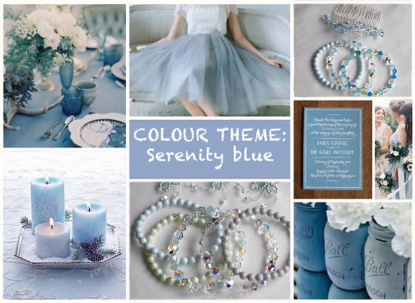Swarovski crystals and pearls bridesmaids bracelets pastel blue and silver grey shades