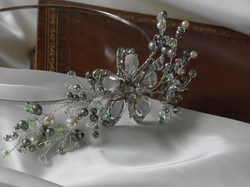 Powder Green Pearls Side Tiara