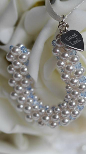 """""""Something Blue"""" Bridal Bouquet Horseshoe Charm -Optional engraving"""