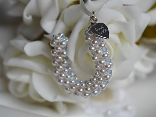 """Something Blue"" Bridal Bouquet Horseshoe Charm -Optional engraving"